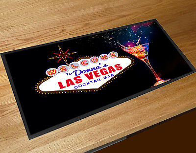 Personalised with your name Las Vegas Cocktail Glass bar runner home bar
