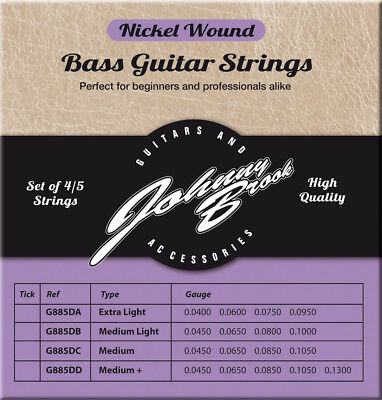 Johnny Brook High Quality Nickel Wound Bass Guitar String Strings- 4 Pack