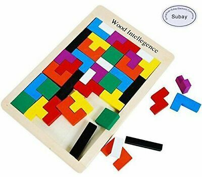 Toddler Wooden Jigsaw toy Tangram Puzzle Colorful Intellectual Educational 40pcs