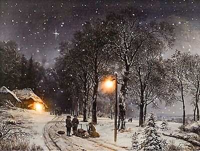 Led Canvas Christmas Winter Scene Light Up Canvas Wall Picture 40 x 30cm