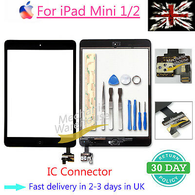 Front Glass for iPad mini1/2 Touch Screen Digitizer Replacement IC Button Black