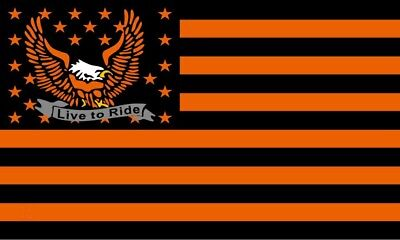 "LIVE TO RIDE 18"" x 30"" EAGLE /FLAG/BANNER IN HARLEY COLORS Wall Hanger-US Seller"