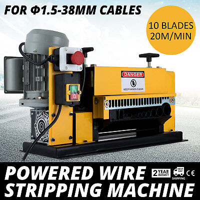 Powered Wire Stripping Machine 1.5-38mm 10 Blades Peeler Peeling 11 Channels