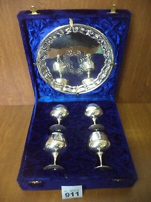 Vintage Cased Silver Plated Wine Goblets & Serving Tray