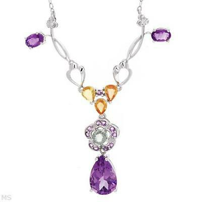 Necklace With 5.09 Ctw Precious Stones White Gold. Brand New
