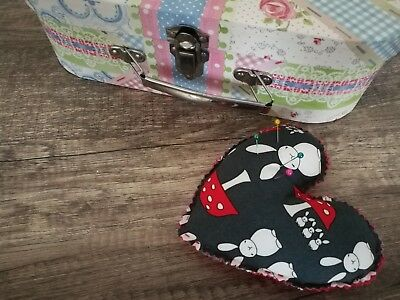Hand Stitched Heart Shaped Pin Cushion Rabbits Mushrooms Black Red White