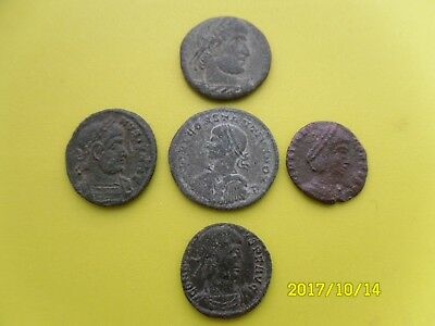 Group Of Five Roman Coins