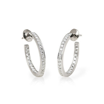 Cartier 18K White Gold Diamond Inside Out Hoop Earrings - Com1170