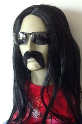 Long Black(Middle Parting) Fancy Dress Wig & Thick Droop   Moustache. Self Adh.