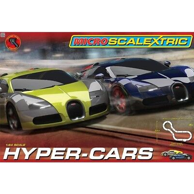(damaged box) Micro Scalextric G1108 Hyper-Cars Set Bugatti Veyron Sports Car