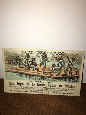 Vintage Advertising / Trade Card 1800s Black Americana- DT Wilcox Stoves Ranges