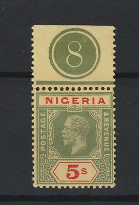 Nigeria 1914 SG # 10b with selvedge number Yellow back vf unmounted MNH