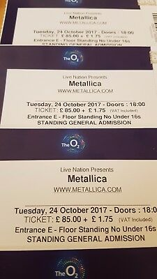 METALLICA STANDING Tickets O2 Arena Tuesday 24th October