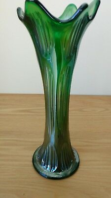 Fenton Diamond And Rib Green Carnival Vase..