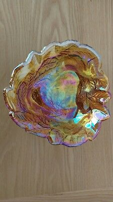 Carnival Glass Amber Fruit And Leaf Bowl
