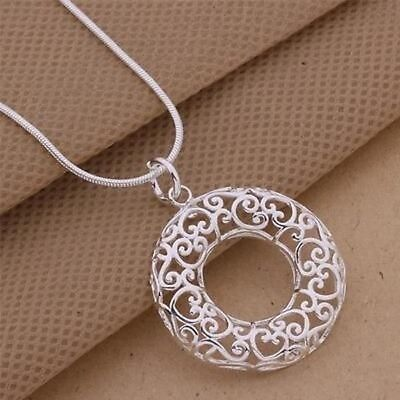 Hot Fashion Gorgeous Jewelry Solid Silver Engraving Circle Necklace B925