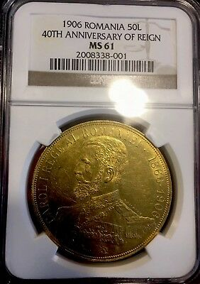 Romania 50 Lei 1906 Gold NGC MS61 VERY RARE Mint State