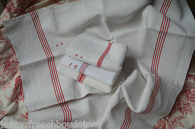 4 classic French linen red striped torchons or towels, 3 monogrammed