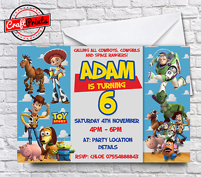 toy story personalised birthday party invitations invites with