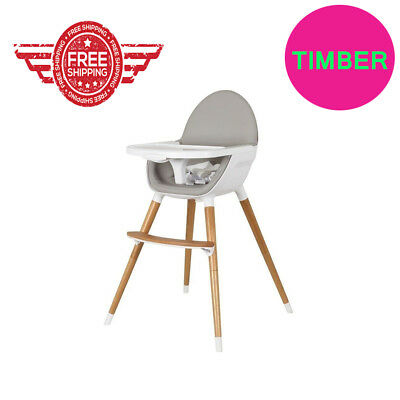 best Selling Baby High Chair Feeding Timber Wood legs Toddler Free Delivery
