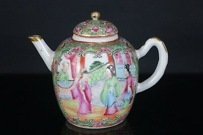 Good Chinese 19Th Century Canton Famille Rose Scholars Teapot