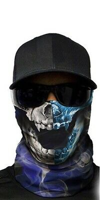 MOTORCYCLE FACE MASK - SKULL BLUE & GREY - (Moto, Hunting, Fishing, Paintball)