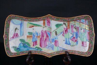 Good Chinese 19Th Century Canton Famille Rose Shaped Tea Tray Dish