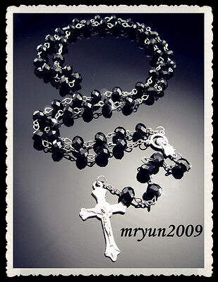 FREE Prayer Rosary INRI Black Crystal beads cross pendant Beaded Necklace 31""