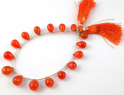 "1 Strand Natural Carnelian Faceted Drops Briolette 7x12-9x14mm Gemstone 8"" Long"
