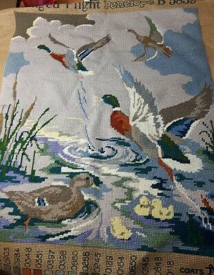 "Vintage Completed Penelope Tapestry "" Mallards In Flight"""
