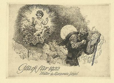 PF 1922 Ferdinand Staeger / Vogel New year's card Child Moon Etching C3 signed