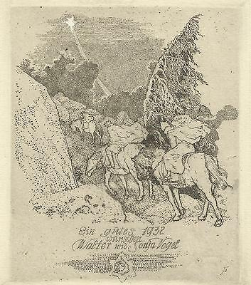 PF 1932 F. Staeger / Vogel New year's card  3 Magi Horses Star Etching signed