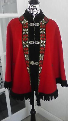 Gorgeous Vintage Pure Wool Red Norwegian Coat/ Cape Size 16 Approx