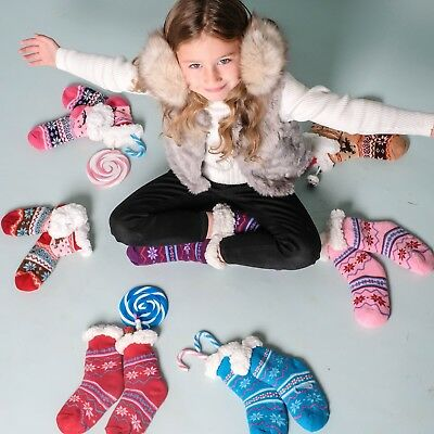 2 Pairs Girls Christmas Warm Fluffy Fur Fleece Lined gripper Bed Slipper Socks