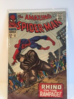 Amazing Spider-man #43 VG 1966 Rhino on the Rampage 1st full appearance