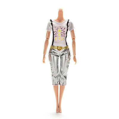 1PCS Blouse Outfit Casual Wear Clothes Trousers for Barbie Doll 5C