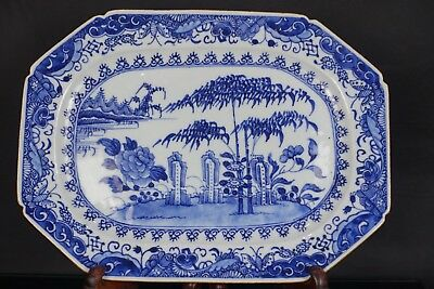 Large Chinese 18Th C Qianlong Period  Blue & White Scholars & Landscape Charger
