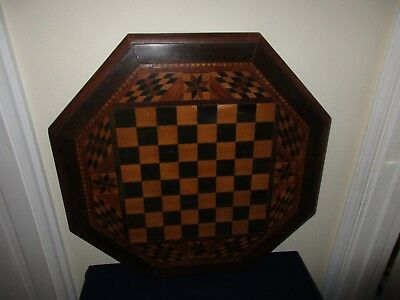 Antique Inlay Wood Folk Art Game Board Checkers Chess Table Top Desk Furniture