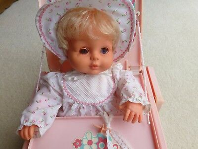 Rare Vintage Tiny Tears Doll With Carry Cot Original Clothes and Dummy