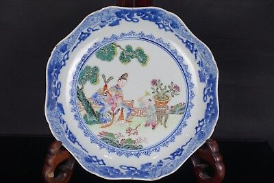 Rare Chinese 18Th C Qianlong Period Famille Rose Scholars Shaped Dish Bowl