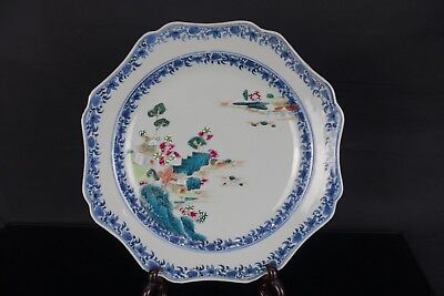 Fine Chinese 18Th C Qianlong Period Famille Rose Landscape Dish Plate