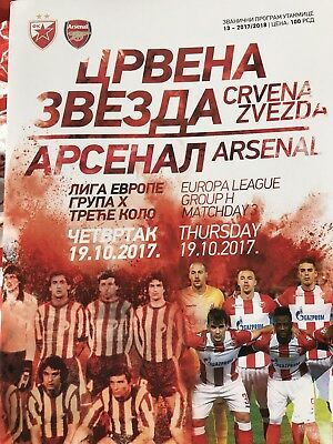 Official Programme 19/10/2017 Red Star Belgrade v Arsenal Europa League