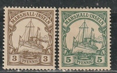 1901 German colony stamps, Marshall Islands 3pf & 5pf MH SC 13-4