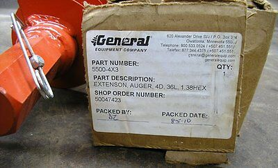 New General Equipment Extension Earth Auger #5500-4x3.  3 FT. Depth, Item #8591