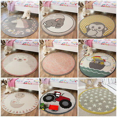 Modern Grey Yellow Kids Circle Bedroom Rugs Pink Nursery Rug Boy Girls Mat Cheap