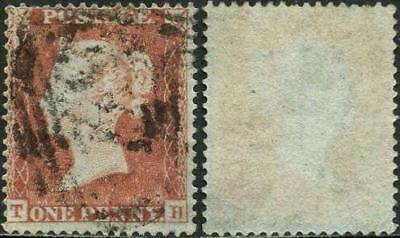 SG17 C1 Small Crown Wmk. Perf.16 Die I Alph.II 1d Plate 166 'TH'. Fine Used