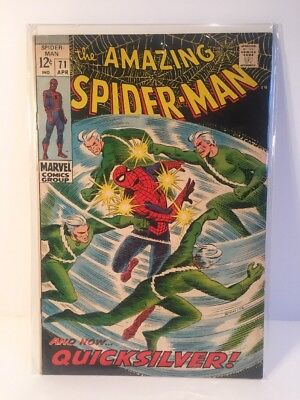AMAZING SPIDER-MAN #71 GLOSSY CENTS SOLID FN+. Quicksilver
