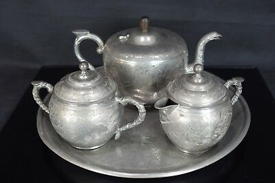 Superior Quality Chinese 20Th Century Pewter Dragons & Birds Tea Pot Tray Set