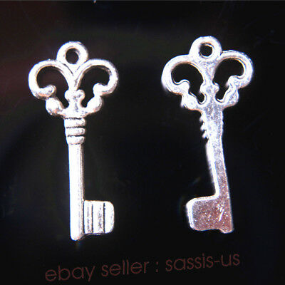 10 Pieces Lower Key Charms Tibetan Silver Metal DIY Jewelry making 21*10mm 7735A