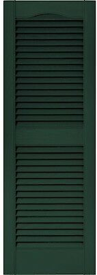 New Decorative 15 in x 43in Midnight Green Louvered Vinyl Exterior Shutters Pair